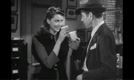 Big Sleep (1946) Dorothy Malone & Humphrey Bogart Toasting